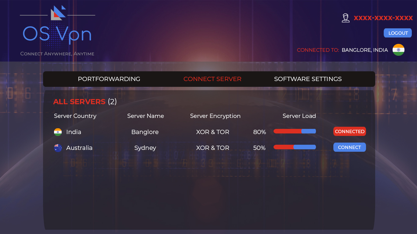 Contact to VPN server by OSVPN